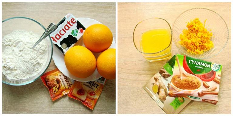 Składniki na muffinki z pomarańczą