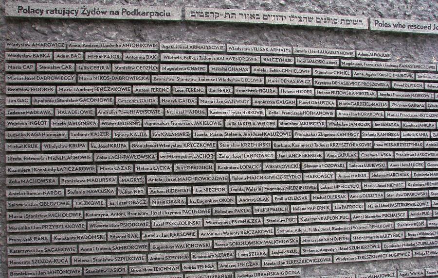 Tablica z nazwiskami mieszkańców Podkarpacia, którzy pomagali Żydom